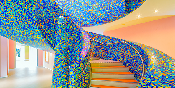 Groninger Museum staircase rendered in Bisazza mosaic