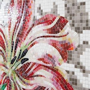 Tulips Grey Decoration Mosaic Tiles