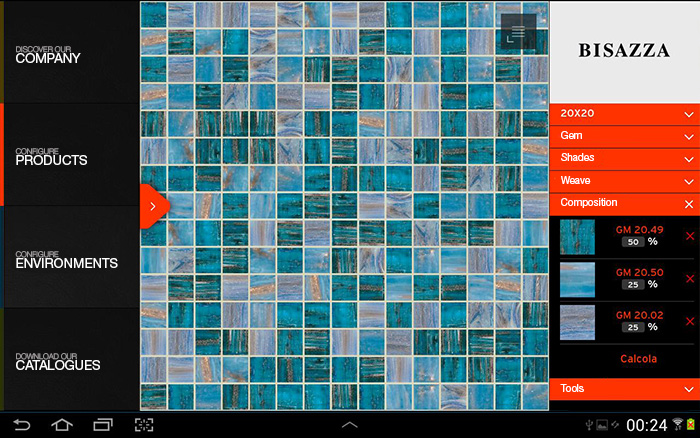 Bisazza App Mixture Configuration