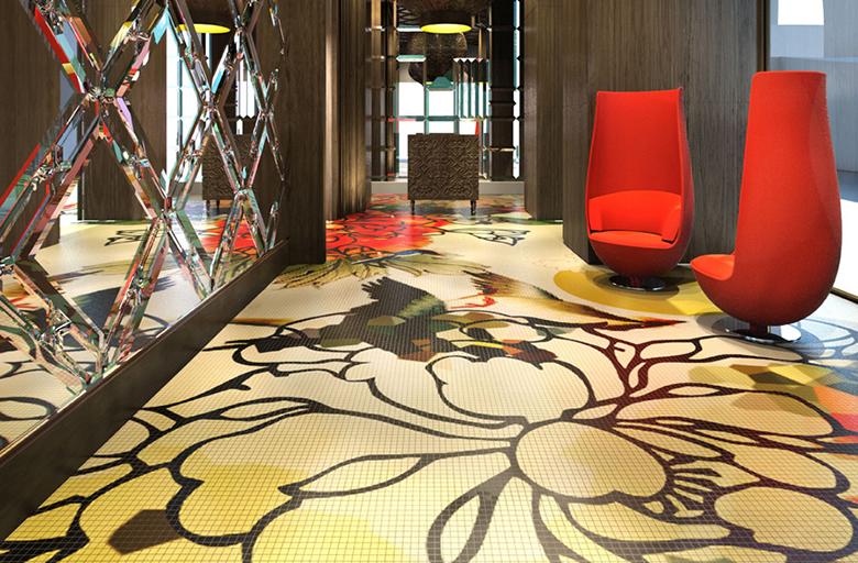 Mira Moon Hotel Lobby Interior Design Mosaic