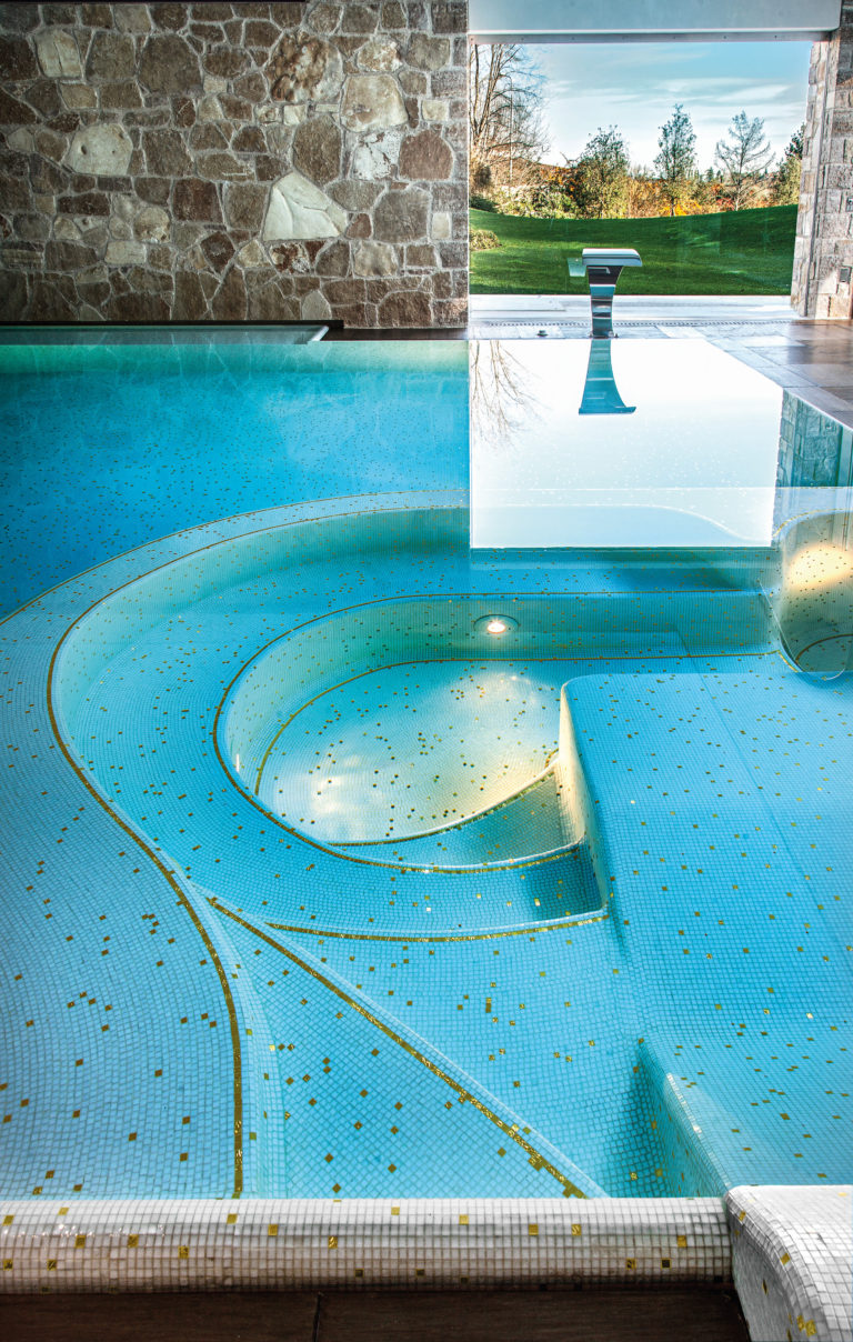 Spectacular Bisazza pool mosaic at a private spa