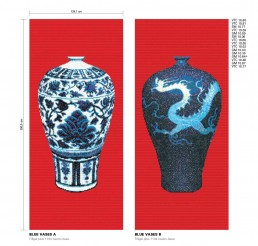 Timeless Mosaic Pattern Blue Vases