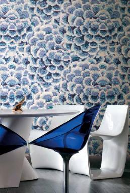 Floral Mosaic Pattern Dalia Blu