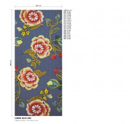 Floral Mosaic Pattern Fabric Blue Oro
