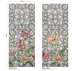 Floral Mosaic Pattern Tulips Grey