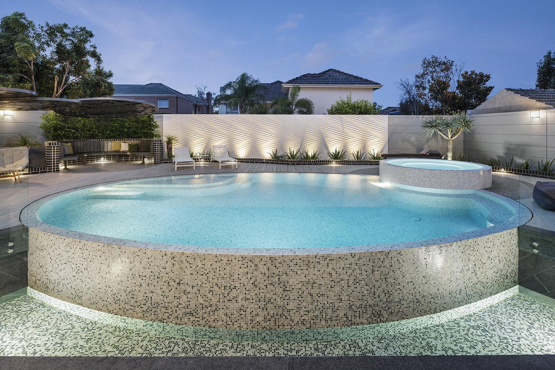 Bisazza mosaic pool and spa by Laguna Pools