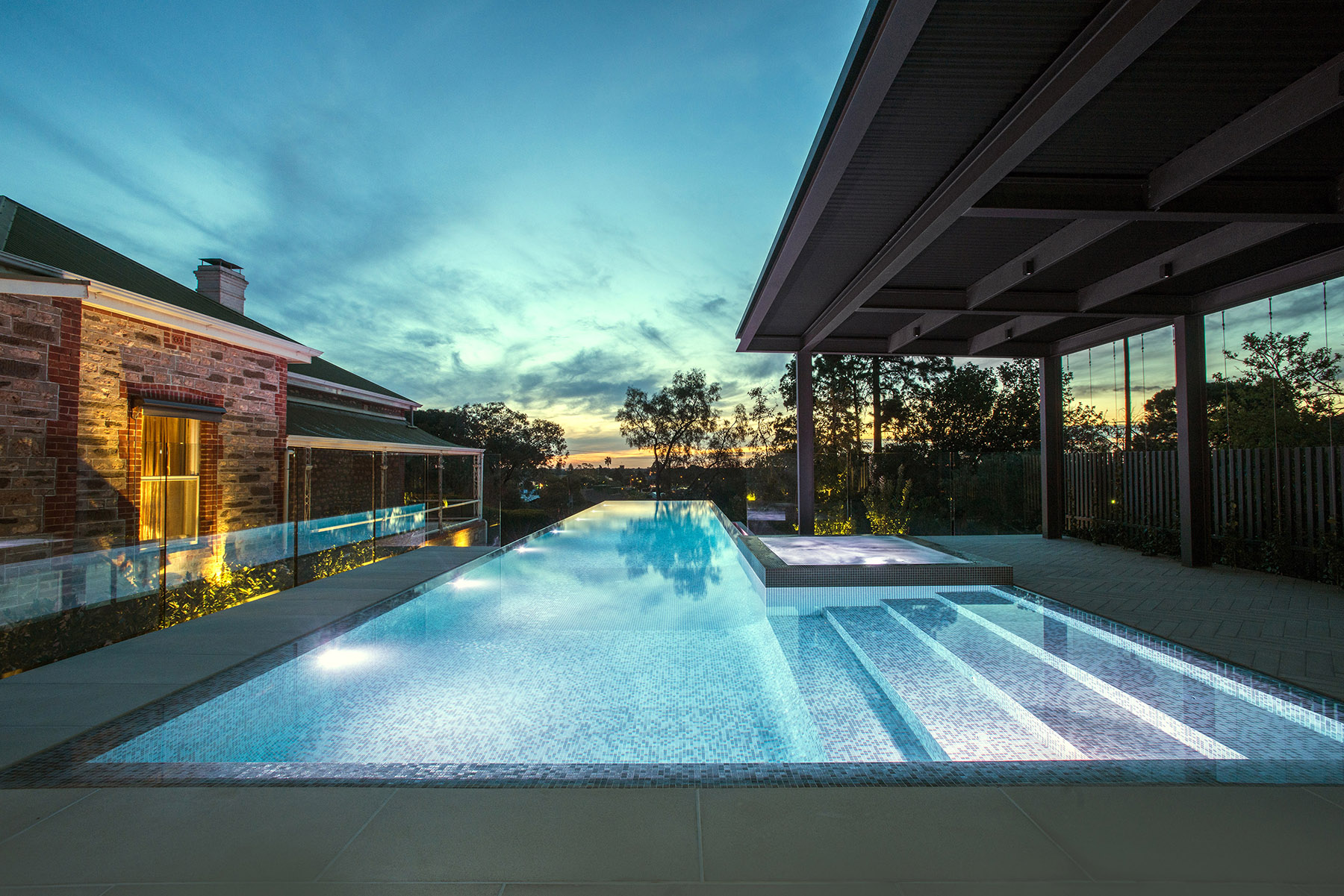 Bisazza mosaic pool and spa by Laguna Pools