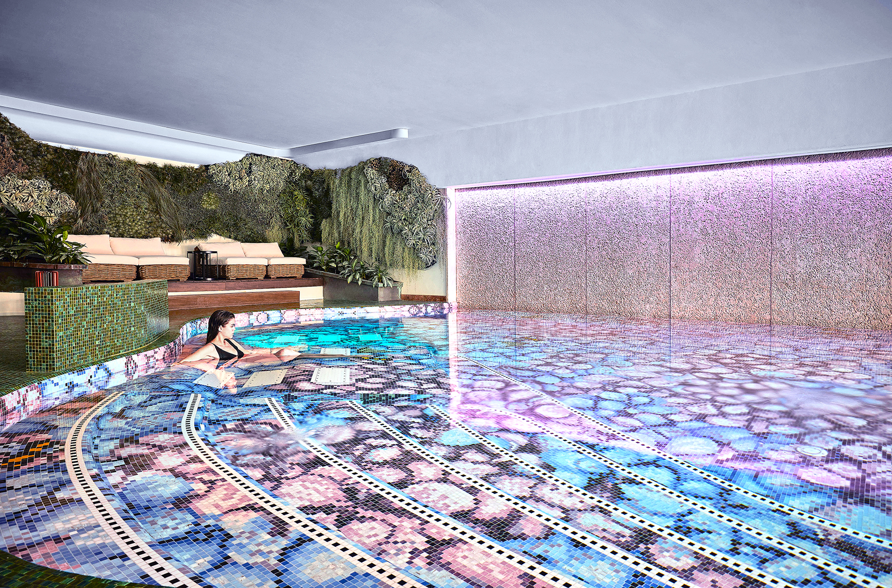 BISAZZA Mosaic ORTENSIA decoration design Fornasetti POOL at Relais L'ALBERETA